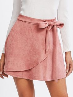 Shop Self Belted Suede Staggered Skirt online. SheIn offers Self Belted Suede Staggered Skirt & more to fit your fashionable needs. Casual Skirt Outfits, Mode Outfits, Fashion Outfits, Casual Skirts, Diy Fashion, Fashion Ideas, Fashion Vest, Fashion Skirts, Fashion Top