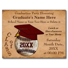 PERSONALIZED Vintage BASEBALL Graduation Invitations on Quality yet Inexpensive Postcard for Cheap Graduation Invitations for boys and men. CLICK: http://www.zazzle.com/custom_vintage_baseball_graduation_invitations_postcard-239052930513479764?rf=238012603407381242  More Vintage Baseball Themed Party Supplies, Thank You notes, matching Stamps and more. http://www.Zazzle.com/YourSportsGifts*  CALL Rod or Linda for CHANGES or HELP: 239-949-9090.