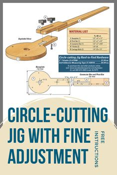 Cut circles with a router or jigsaw Make this jig to cut out or shape accurate circles, semicircles and arcs using a standard jigsaw or router. Free plans and how to instructions. Woodworking Jig Plans, Woodworking Tools For Beginners, Woodworking Jigsaw, Woodworking Furniture Plans, Japanese Woodworking, Woodworking Hand Tools, Wood Working For Beginners, Woodworking Shop, Woodworking Projects