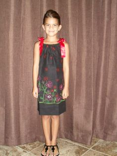 Ella wearing JaxandJil.com embroidered pillowcase dress dress <3
