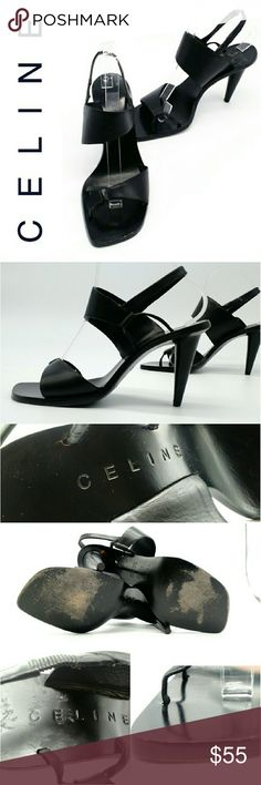 """Gorgeous Celine Heels 36.5C These Celine heels are a great find! They are stylish, chic, classy, and comfortable to wear. They show signs of wear, but it's not noticeable when worn. Lots of life left to them. I have way too many shoes so am letting these go. Fit like a 6.5. heel height is 3.5"""". Celine Shoes Heels"""