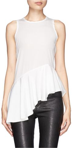 Mo&co. Edition 10 Asymmetric Peplum Top in White - Lyst