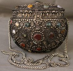 shopgoodwill.com: Ethnic Look Metal Box Purse W/Stones Sold for $37.99