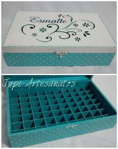 Painted Boxes, Wooden Boxes, Diy Storage, Diy Organization, Baby Girl Wedding Dress, Wooden Toy Kitchen, Essential Oil Storage, Decoupage Box, Indian Home Decor