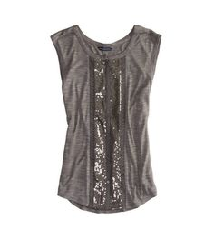 AE Sequined Button Front Tank grey | American Eagle Outfitters