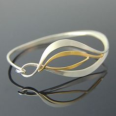 Forged Leaf Bracelet by Susan Panciera: Gold and Silver Bracelet available at www.artfulhome.com