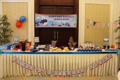 Nautical First Birthday Party-Great ideas and detailed pictures!