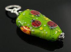 Lampwork glass pendant Lampwork glass bead by GlassAfternoon