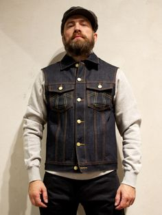 I think I could rock one of these. Eat Dust Clothing Vest 736 Raw Denim - Denim Heads - Only The Best