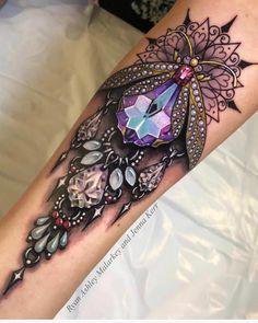 Pretty jewelry collaboration piece by Ryan Ashley Malarkey and Jenna Kerr. Juwel Tattoo, Hamsa Tattoo, Tattoo Hals, Mandala Tattoo, Tattoo Neck, Ryan Ashley Malarkey, Neue Tattoos, Body Art Tattoos, Tatoos