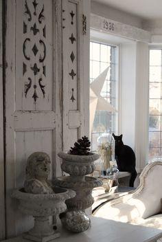 Black kitty (Romeo) & shabby chic whites