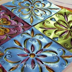 GASP - faux tin tiles made from disposable cookie sheets from the dollar store.be still my heart. Craft and DIY Projects and Tutorials Diy Projects To Try, Crafts To Make, Fun Crafts, Craft Projects, Arts And Crafts, Project Ideas, Craft Ideas, Tin Can Crafts, Diy Projects Using Tin Cans