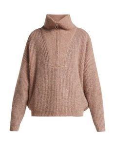 Soft and luxurious mohair jumper with a high zipped neck is the perfect transeasonal style. Wear with anything from denim or over a pleated skirt to channel the brands French cool girl aesthetic. Half Zip Sweaters, Long Sweaters, Sweaters For Women, Skater Skirt Dress, Herringbone Jacket, Striped Shirt Dress, Printed Skirts, Knitwear, Menswear