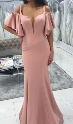 Custom Made Soft Sexy Sexy Cold Shoulders Design Long Jersey Floor Length Mermaid Bridesmaid Dresses Mermaid Bridesmaid Dresses, Mermaid Evening Dresses, Wedding Party Dresses, Dream Dress, Designer Dresses, Fashion Dresses, Gowns, Evening Party, Dress Long