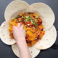 Monster Chicken Fajita Crunch Wrap! Omg!  vc: @twistedfood Snapchat : foodyfetish