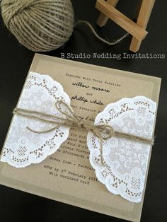 Rustic wedding invitation with twine and doily - ideal for a country/ vintage/ vineyard/ barn/ shabby chic wedding. $7.95, via Etsy.