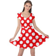 Large white polka dots pattern, retro style, pinup pattern Cap Sleeve Dress #dress #womens #fashion #girls #style #cowcow Retro Fashion, Womens Fashion, Large White, Retro Style, Pinup, Fit And Flare, Creative Design, Cap Sleeves, Polka Dots