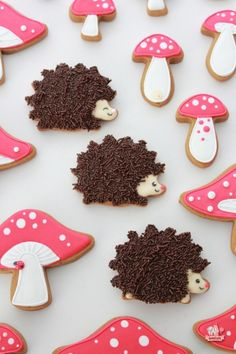 Hedgehog and Mushroom Decorated Cookies