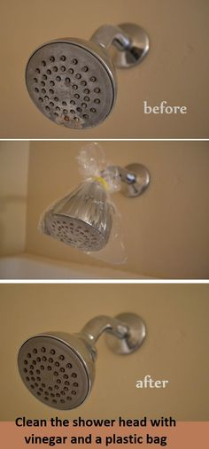 Clean the shower head with vinegar and a plastic bag