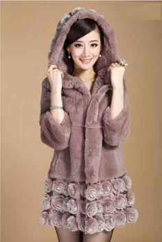 New 100% Rex  Rabbit Fur Women Coat Jacket Overcoat Garment Rose  #Furfox #BasicCoat