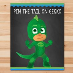 PJ Masks Pin the Tail Game Gekko - Green Chalkboard - Boy PJ Masks Game - PJ Masks Birthday Boy Party - Pj Masks Printable Party Game by HydrangeaEtchings on Etsy https://www.etsy.com/listing/504154075/pj-masks-pin-the-tail-game-gekko-green