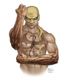 "Iron Fist - The Body Issue: Superheroes Edition (Marvel on ESPN) - by Russell Dauterman - ""I cast the person in my head. For Iron Fist, I kept coming back to Bruce Lee-martial arts build, compact, lean muscle, not bulky. Comic Book Artists, Comic Book Characters, Comic Book Heroes, Marvel Characters, Comic Character, Comic Books Art, Comic Art, Arte Dc Comics, Marvel Comics Art"