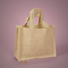 Way cheaper! Can easily hand embroider with initials J+S.  Ivory Jute Tote Handle Bag  7 x 6  Custom Printing by ONEAugust, $3.75
