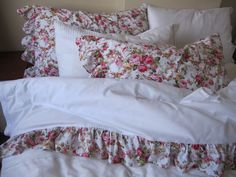 Ruffled sheet white shabby chic Red floral queen bed cotton top sheet sets with 2 pillow cases -$90.00  http://www.etsy.com/listing/158604702/ruffled-sheet-white-shabby-chic-red?ref=sr_gallery_7&ga_search_query=shabby+chic+duvet&ga_order=most_relevant&ga_view_type=gallery&ga_ship_to=US&ga_page=5&ga_search_type=all