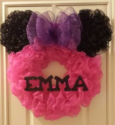 This is a one of a kind Minnie Mouse wreath and is no longer available but I do take orders for just about any theme or color scheme.