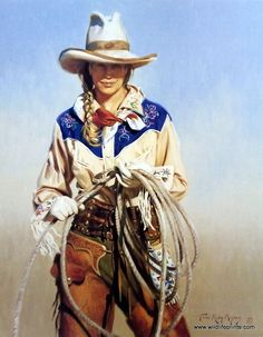 "This cowgirl stand With Attitude holding tightly onto her lasso, and she's wearing the perfect western getup. This print is available unframed in an image size of 19""x24"""