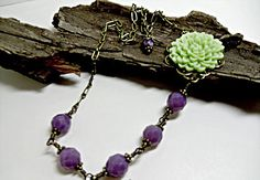 Large Lavender Crystals with  Soft Green Flower Etsy listing at https://www.etsy.com/listing/192926278/lavender-stone-and-soft-peridot-colored