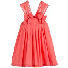 4bad425466db BALLOON CHIC SS 2016 Balloon Chic Coral Pink Flared Cotton Dress with Bows  at Childrensalon.