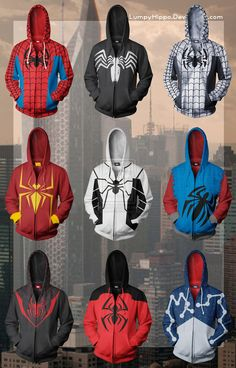 I NEED all of these...every single one  Spider-Man Hoodies by lumpyhippo on deviantART