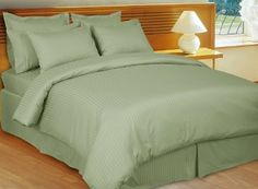 Stripe Sage-Green Down Alternative bed in a Bag, 100% Egyptian cotton
