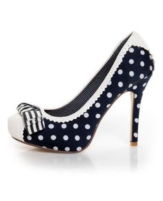 navy polka dots shoes