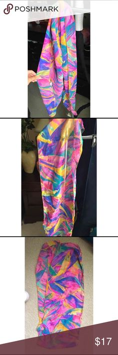 Colorful sheer scarf Beautiful, colorful sheer scarf. I don't know why but the colors remind me of a flamingo. Anyways, brand new. Never been used. Perfect to wear in an occasion or maybe a night out. Accessories Scarves & Wraps