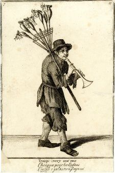 The Cryes of the City of London Drawne after the Life / Troope every one one Plate 55; a toy seller walking to right playing a trumpet with hobby-horses in a frame on a stick over his right shoulder; from late series of the Cries of London, plate reworked with seller's hat altered. 1688, reworked and published after c.1750 Etching and engraving; British Museum 1871,1209.3371