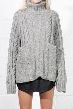 Vintage YOHJI YAMAMOTO Grey Wool CABLE KNIT Sweater