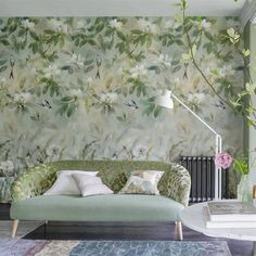 This romantic Designers Guild wallpaper features watercolour magnolia blossoms with swooping swallows in blissful tones of celadon and jade. Wallpaper Stores, Wallpaper Panels, Wallpaper Samples, Wall Wallpaper, Wallpaper Direct, Wallpaper Wallpapers, Wallpaper Ideas, Fabric Wallpaper, Designers Guild Wallpaper