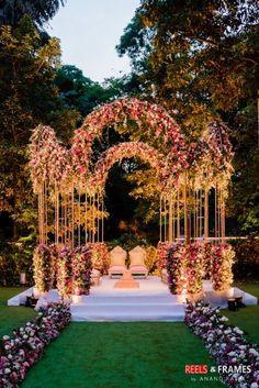 A Super Pretty Bangalore Wedding With Stunning Outfits & A Breathtaking Bridal Entry - stunning mandap decor - Desi Wedding Decor, Wedding Hall Decorations, Wedding Mandap, Wedding Venues, Wedding Cakes, Indian Wedding Planning, Indian Weddings, Peach Weddings, Romantic Weddings