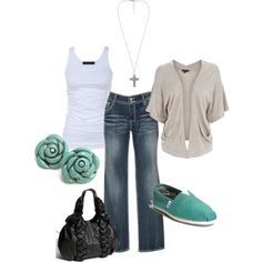 LOOK - jeans, white tank, light gray drape cardi, turquoise Toms, Turquoise jewelry, black or turquoise handbag