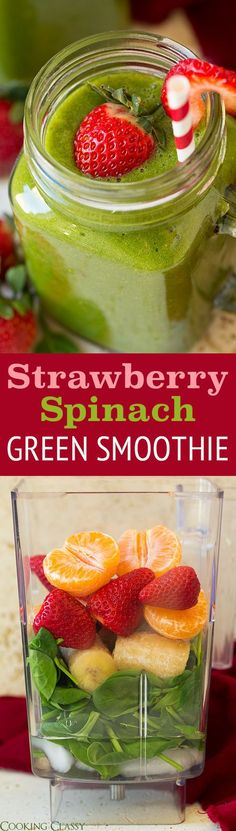 Strawberry Spinach Green Smoothie - this is one of my FAVORITE green smoothies! Packed with spinach but you can hardly taste it.