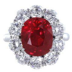9a7f30c68cd96 5.04 Carat GIA Cert Burma Ruby Diamond Platinum Cluster Ring