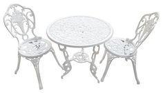 Outdoor Bistro Set In White traditional-bistro-tables