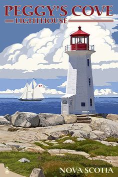 Peggy's Cove Lighthouse - Nova Scotia Giclee Gallery Print, Wall Decor Travel Poster) *** Visit the image link for more details. Poster Retro, Poster S, Nova Scotia, Design Poster, Stock Art, Modern Photography, Vintage Travel Posters, Antique Maps, Illustrations