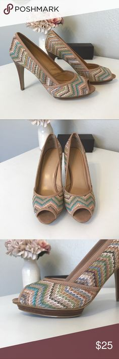 """Nine West Summer Peep Toe Pumps Pastel colored woven texture all the way around the shoe.  Faux wood heel and mini platform.  The hell is 4"""" with a 3.5"""" pitch.  These babies were only worn once as you can tell from the lack of wear on the bottom.  Any additional questions please ask! Nine West Shoes Heels"""