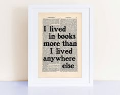 Neil Gaiman Quote Print on an antique page I lived in books