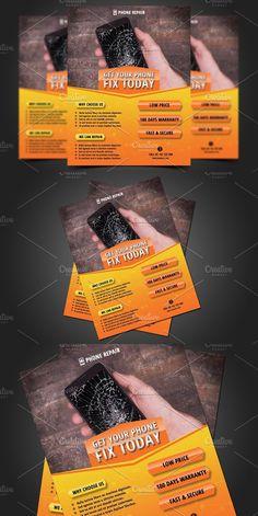 Smartphone Repair Flyer Template. Flyer Templates