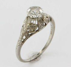 Antique Deco Belais 18k Gold Diamond Filigree Engagement Ring 5.75