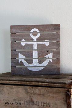 Rustic Gray Anchor Pallet Wood Sign. $39.00, via Etsy.